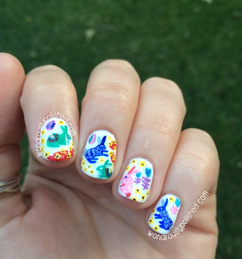 Wondrously polished happy easter retro easter nail art and with my moms nail polish supplies for the base polish opis alpine snow and top coat i created these vintage y retro easter themed nails prinsesfo Choice Image