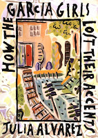 Abstract, brightly colored outdoor scene on book cover, titled How the Garcia Girls Lost Their Accents, written by Julia Alvarez
