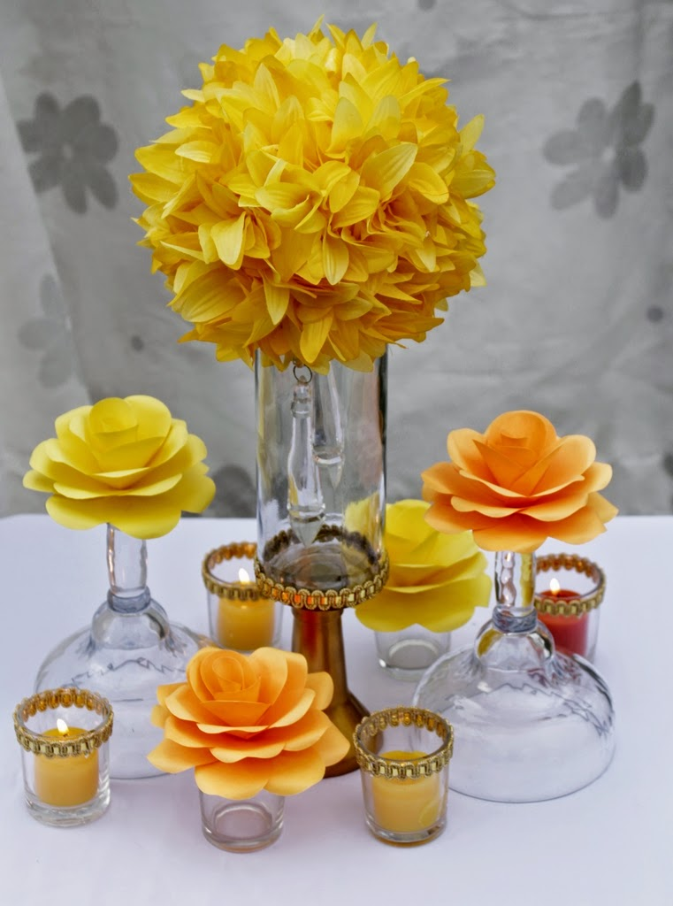 Orange yellow and red wedding table centerpieces silk