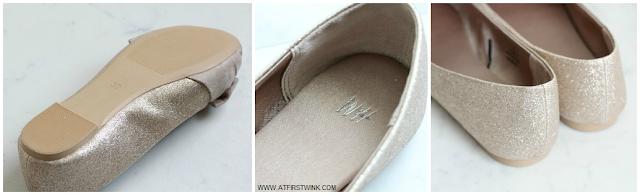 H&M gold glitter flats details