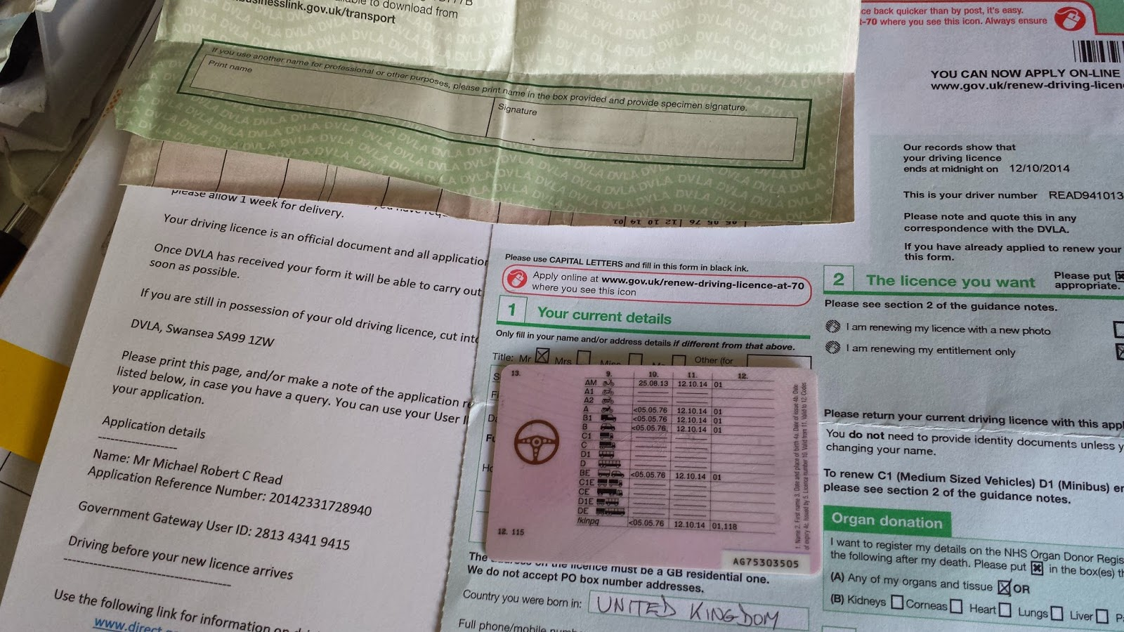 update my driving licence