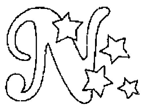 a desenhar letras do alfabeto letra N colorir