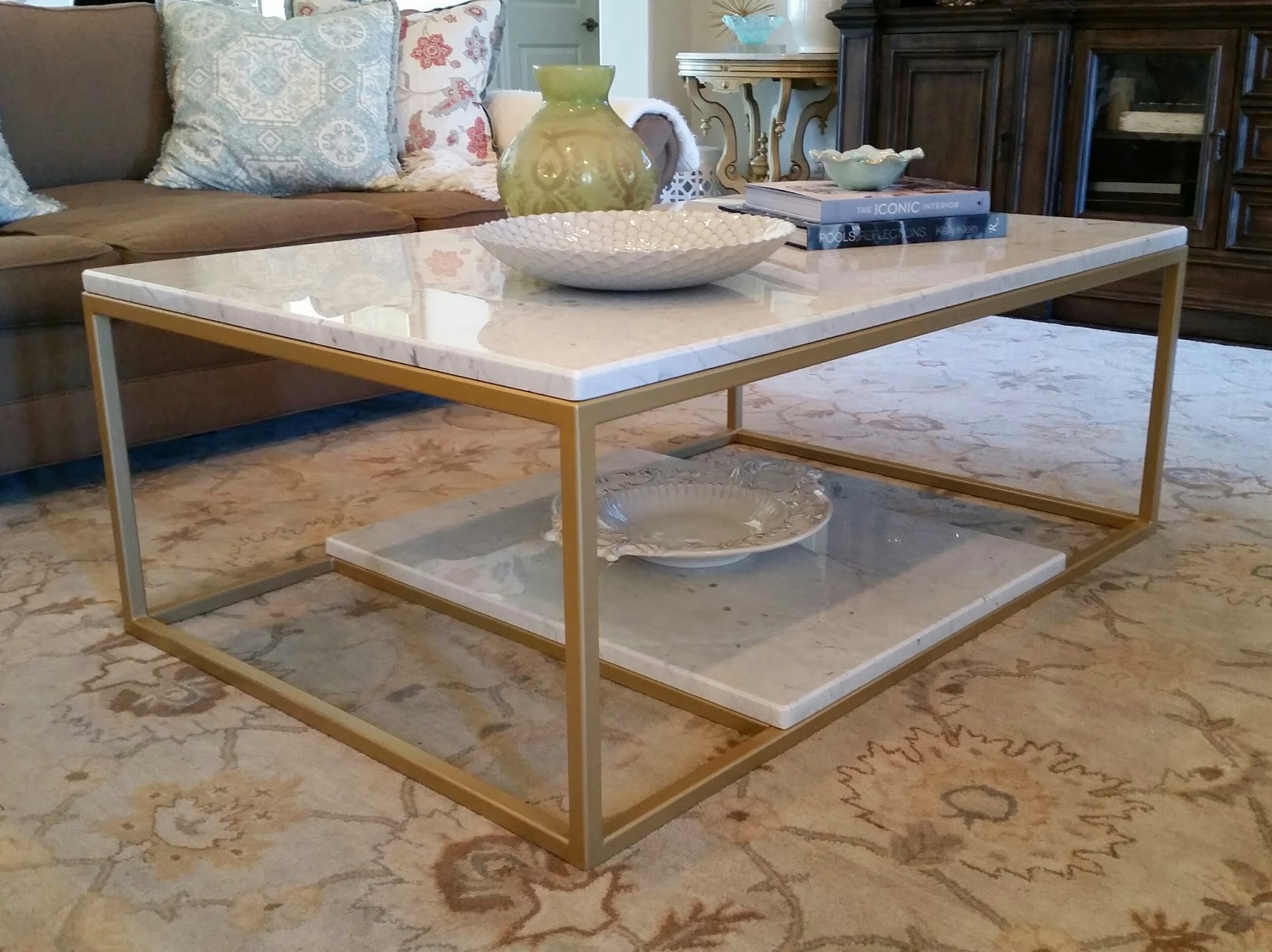 Heres A Custom Metal Coffee Table We Built Dimensions Were 56 Long X 36 Wide 19 High The Finish On 1 Tubing Is Metallic Gold With Clear