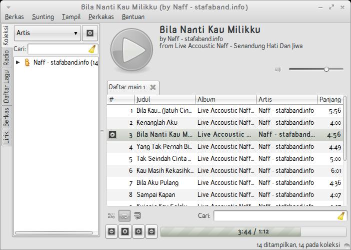 Pemutar lagu Exaile di BlankOn Pattimura