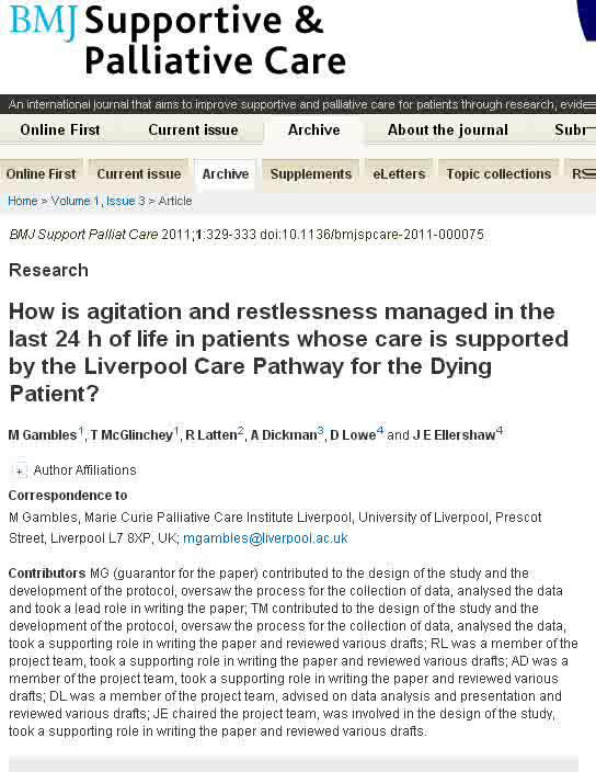 dissertation on liverpool care pathway