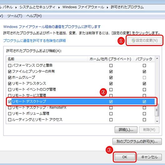 Windowsファイアウォール リモートデスクトップ ホーム/社内(プライベート) パブリック 許可
