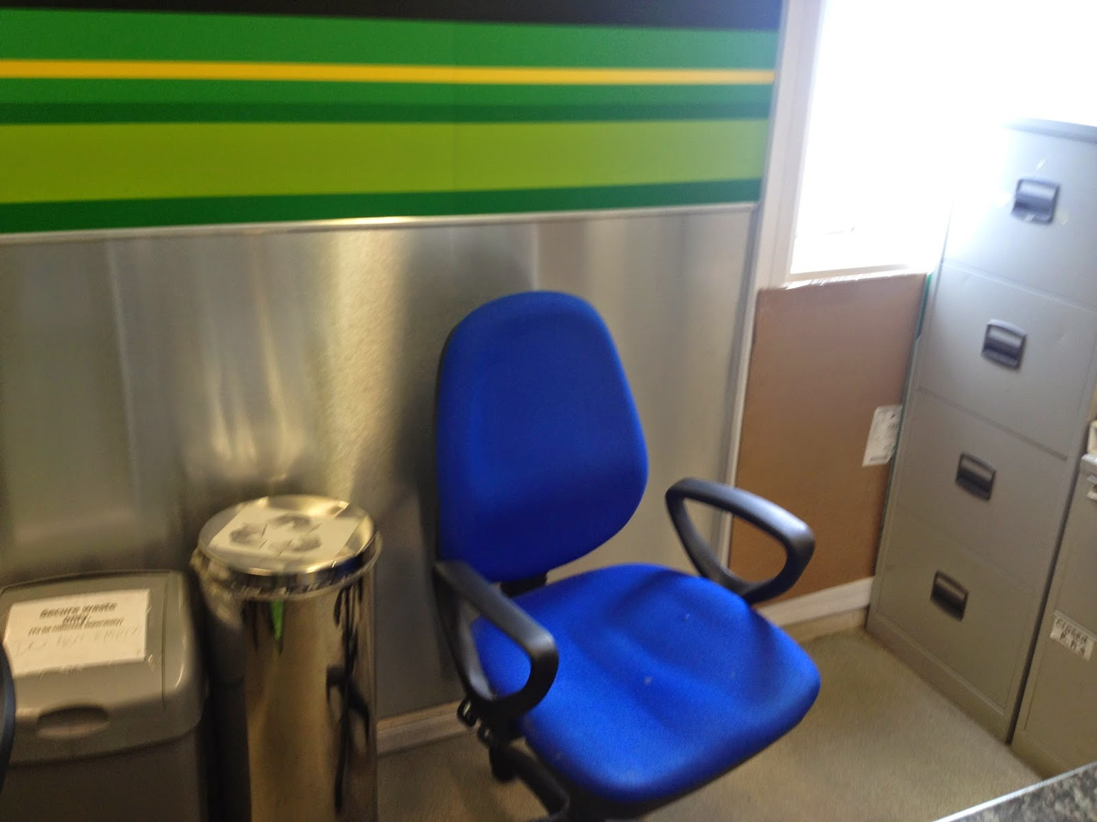Bournemouth Airport Europcar Desk, closed on a Monday mid-day