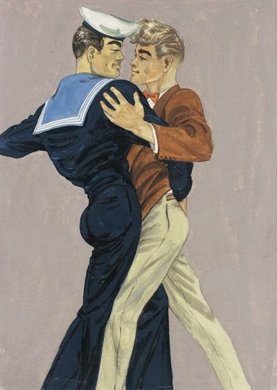 a gay couple dancing by Tom of Finland