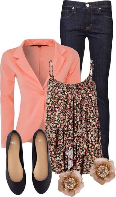 Orange jacket, jeans, flowery gown and easy shoes for ladies