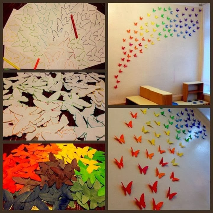 Paper butterflies wall art diy craft projects for Art and craft for wall decoration