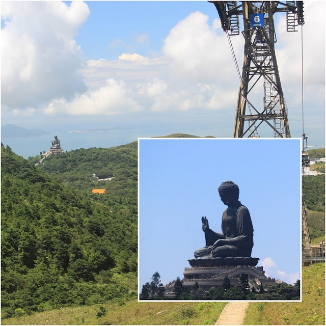 Getting closer to Ngong Ping Village and the Big Buddha statue at Ngong Ping 360 on Lantau Island in Hong Kong