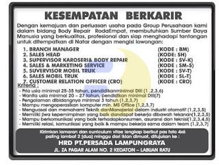 PT. Persada Lampung Raya (Lowongan Kerja Lampung, September 2015 Terbaru, LOKER LAMPUNG September 2015, Karir Lampung September 2015, Bursa Lampung, September 2015 ) Update Setiap Hari
