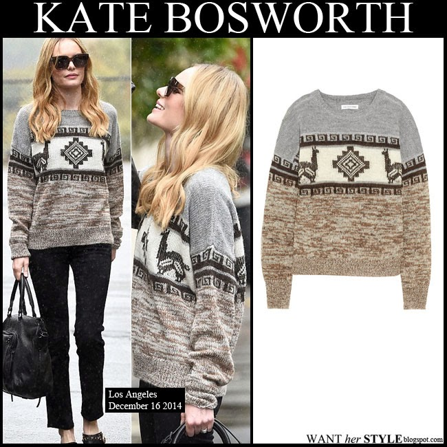 Kate Bosworth in grey, white and brown intarsia knit sweater by Isabel Marant want her style december 16 streetstyle