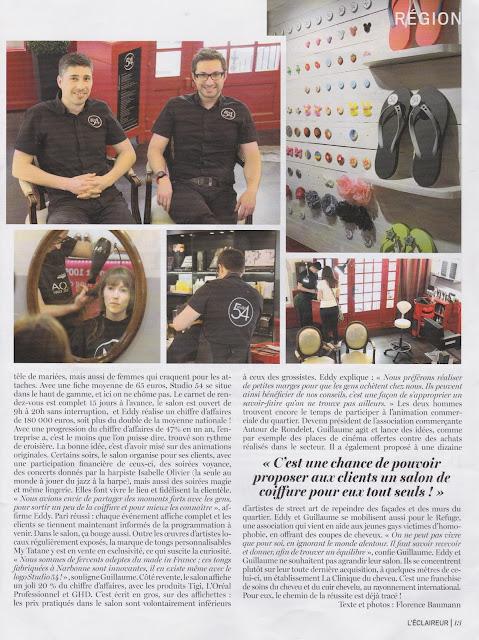 Page 13 du n° 640 du magazine L'Eclaireur du mardi 2 juin 2015, page consacrée au Studio 54, salon de coiffure à Montpellier, situé quartier Rondelet.