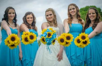 Bukiet ślubny ze słoneczników