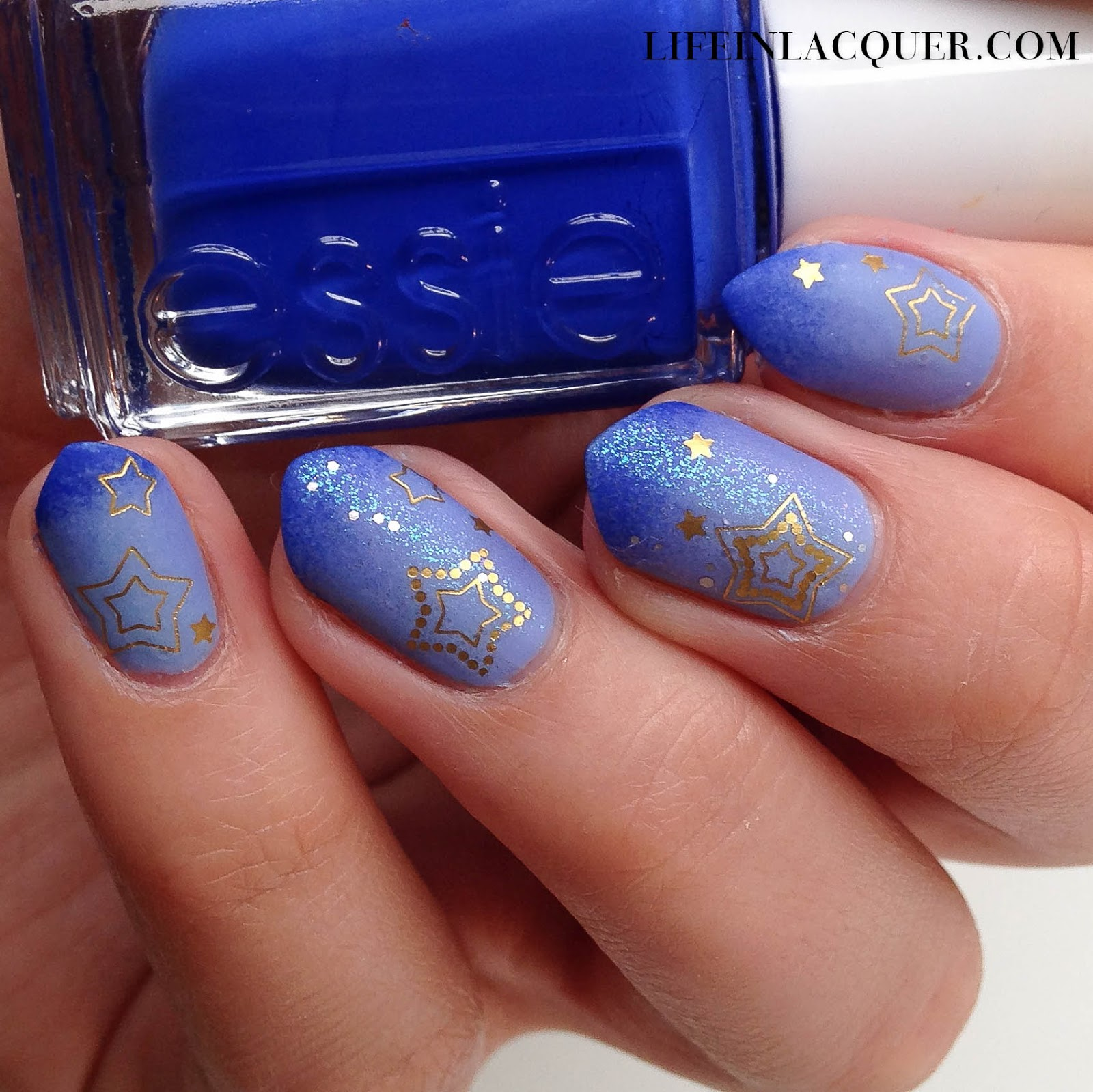 Star decals from Sparkly Nails review gradient glitter