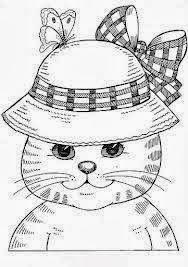 desenho de gatinha com chapeu para pintar