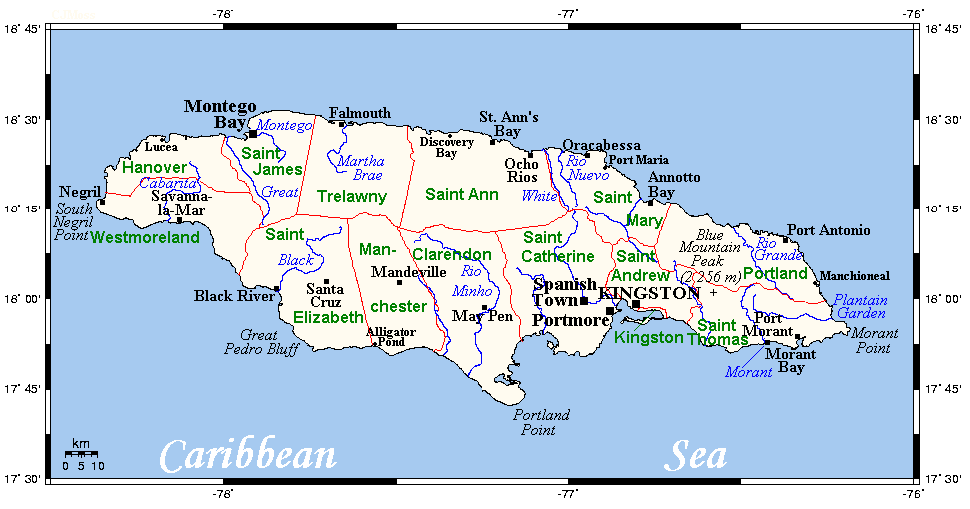 Social Studies Class Of Map Of Major Rivers In Jamaica - What are the major rivers