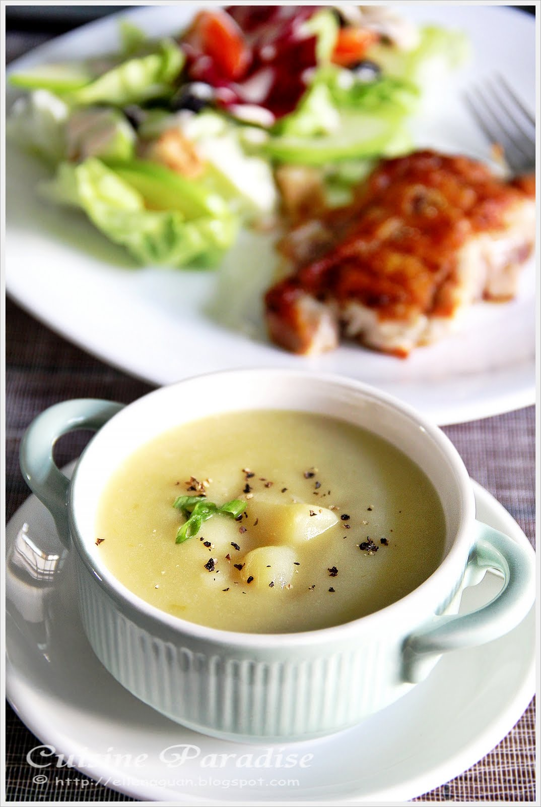 S20 budget meal leek and potato soup grilled chicken cutlet and s20 budget meal leek and potato soup grilled chicken cutlet and green apple salad forumfinder Gallery