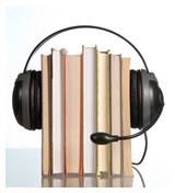 imagem: livros abraçados por auscultadores