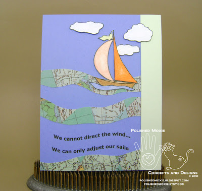 Picture of the front of the sailboat card