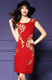 Sleeveless Floral Embroidery Black OL Dress Collections