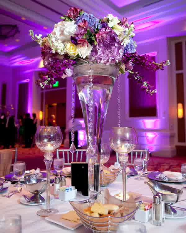 Purple lighting over wedding table centerpieces latest fashion trend by little hint creativity you can have purple lighting wedding decoration over table with tall wedding centerpieces ideas junglespirit Image collections