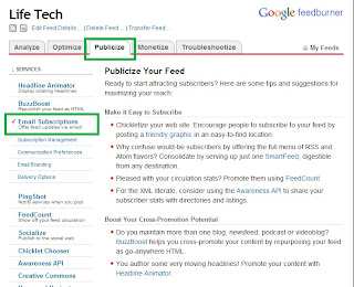Google Feedburner, Email subscription list