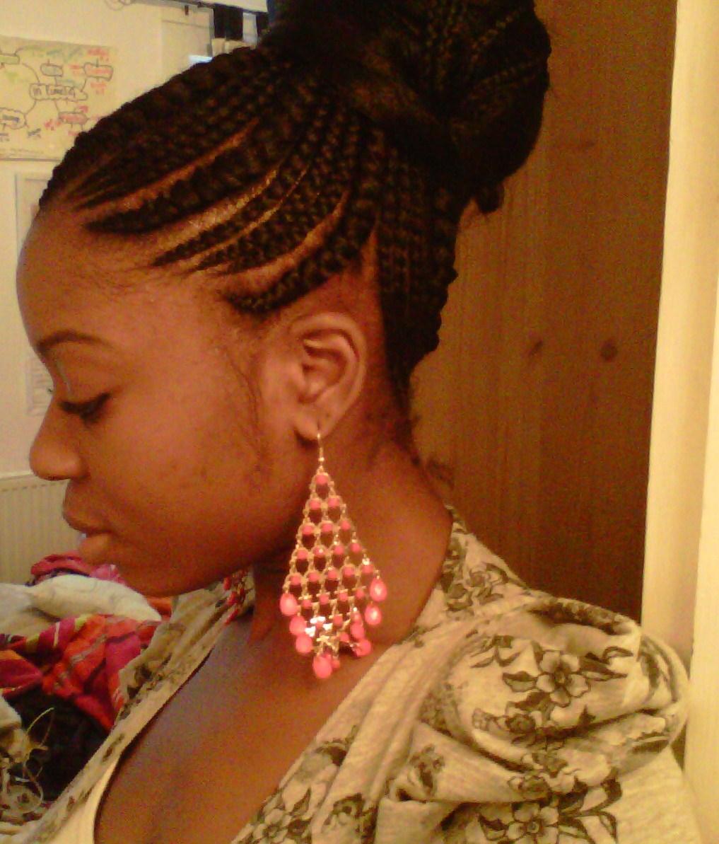 ghana braids middle bun big and small braids ghana braids side bun
