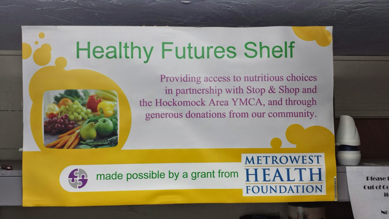 Healthy Futures shelf at the Franklin Food Pantry