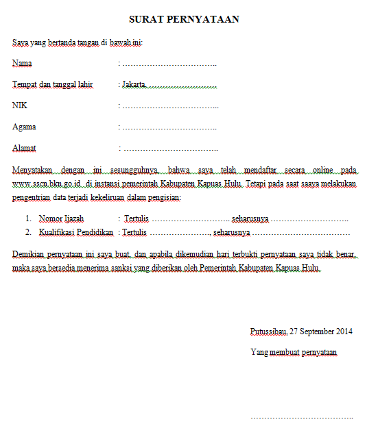 Contoh Surat Pernyataan Kesalahan Isi Form Pendaftaran Cpns 2015