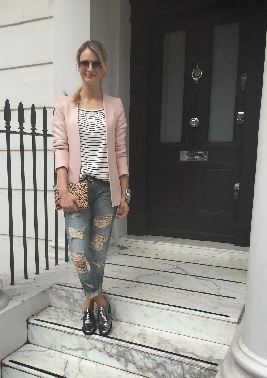 brogues, metallic brogues, silver brogues, ripped jeans and lace ups, zara pink blazer