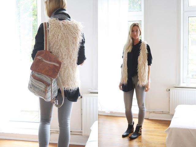 Kiel Blog: Outfit aus Teddyweste und Oversize Bluse.