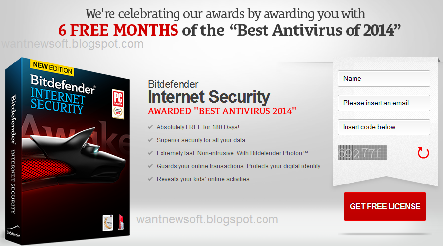 BitDefender Internet Security 2015 giveaway page image