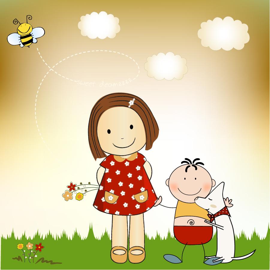 微笑ましい子供と動物のクリップアート warm cartoon vector イラスト素材4