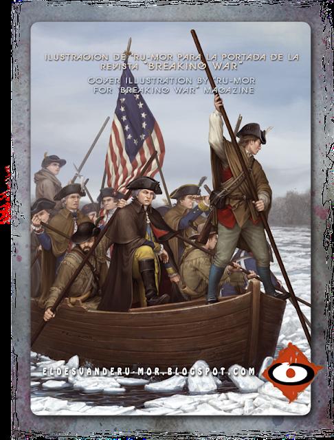 illustration George Washington crossing the Delaware river by RU-MOR for BreakingWar magazine. historical