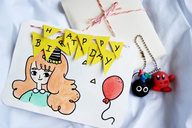 Cartão de aniversario - Leite com bicoitos blog.