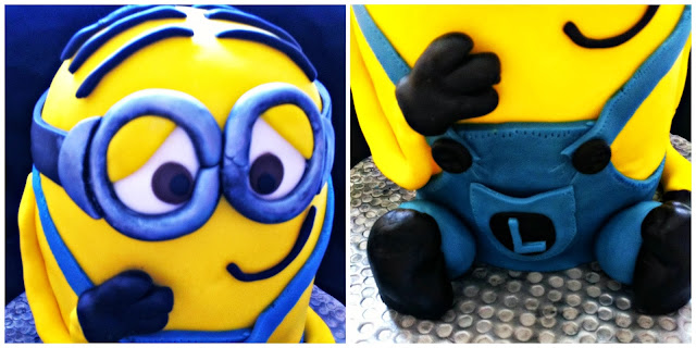 Details of goggles and overalls on a Minion cake