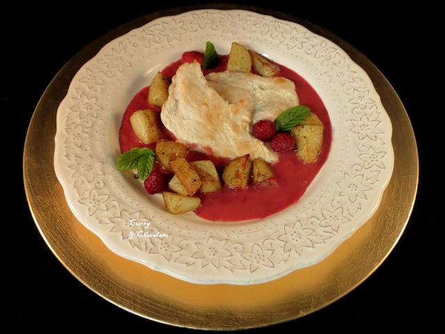 Pechuga de pollo con salsa de frambuesas