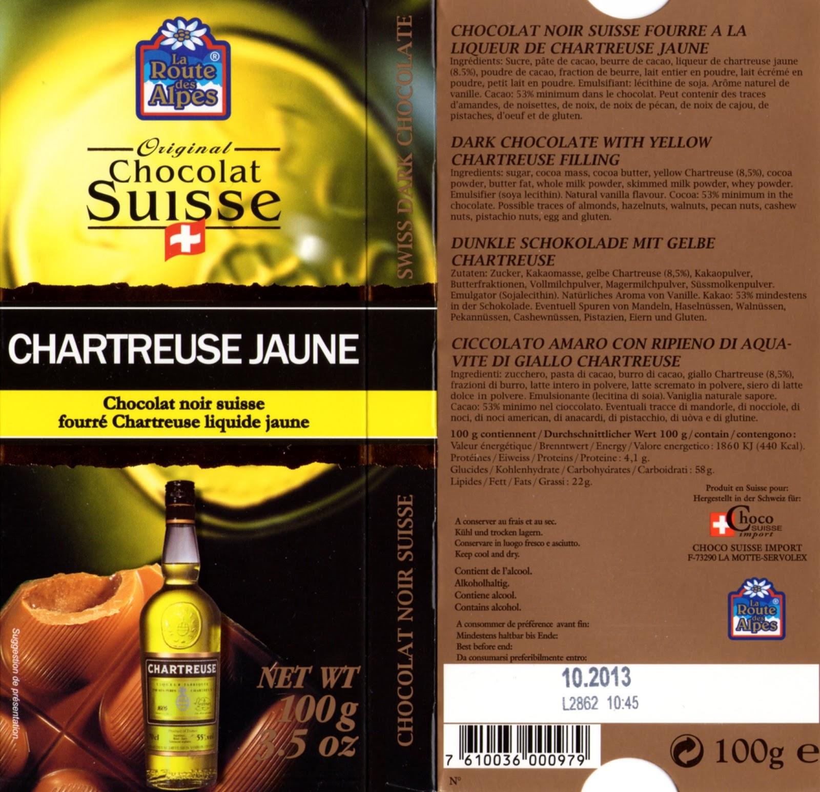 tablette de chocolat noir fourré orset la route des alpes chartreuse jaune