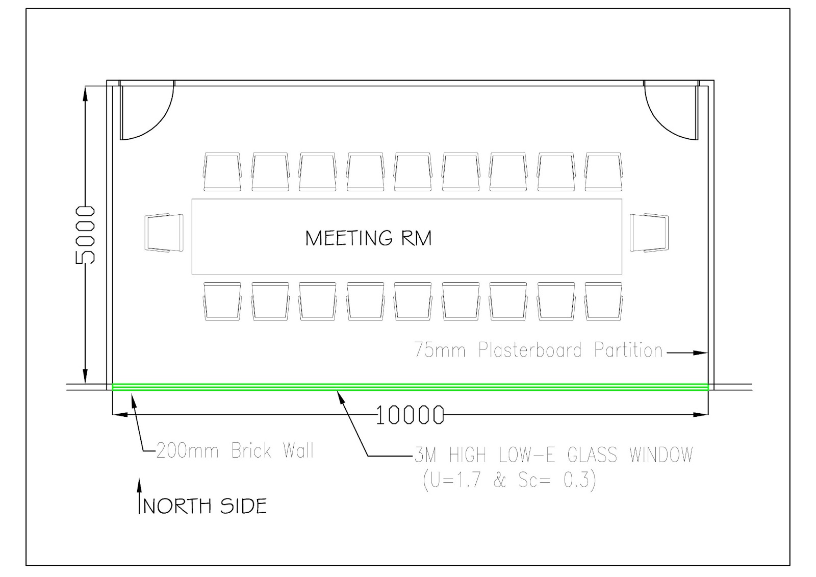 Sample heat load calculation for general office meeting Room layout builder
