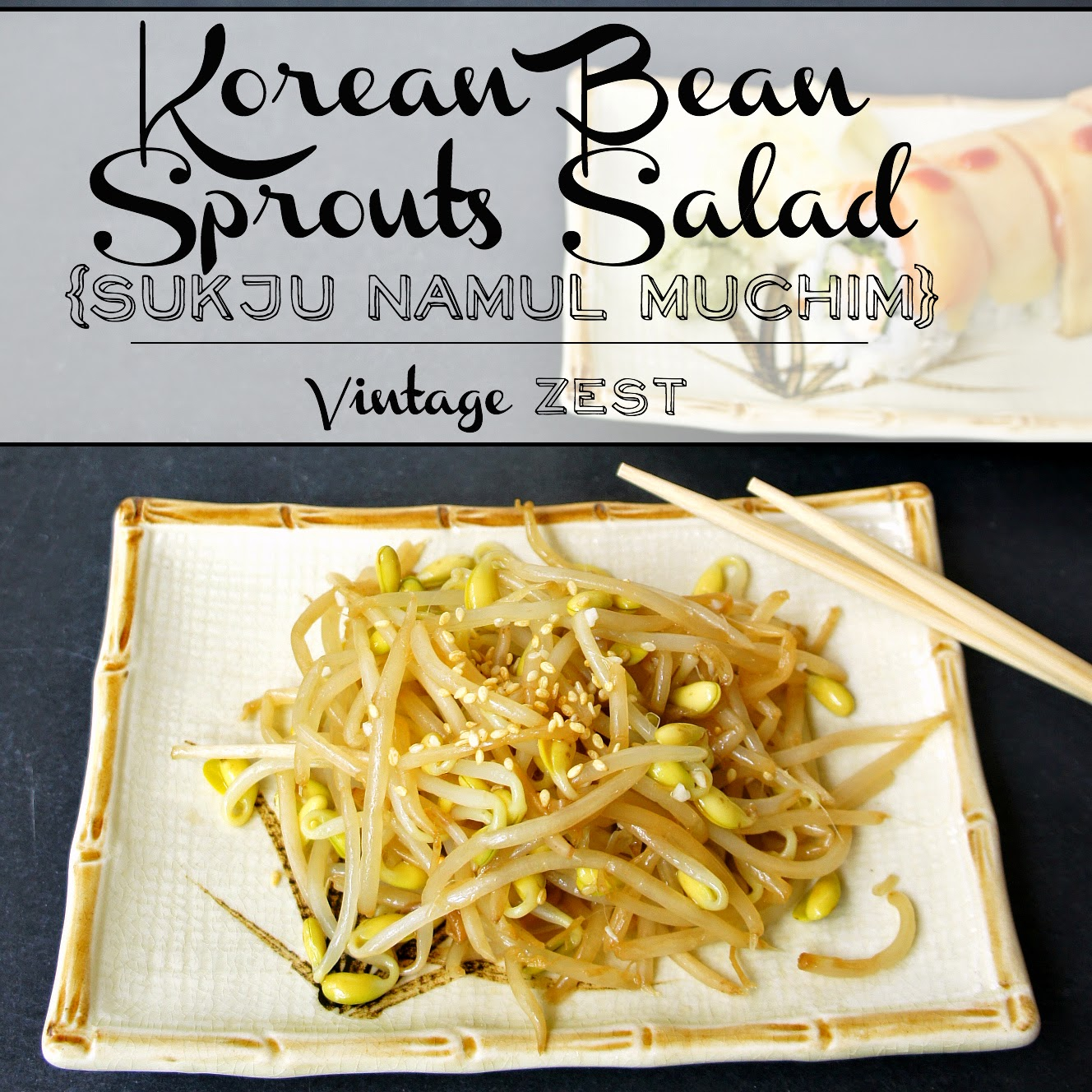 Korean Bean Sprouts Salad (Sukju Namul Muchim) on Diane's Vintage Zest!  #recipe #vegetarian #healthy
