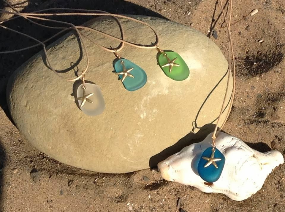 Seaglass Pendants wit Gold Starfish