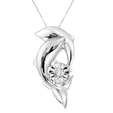 silver diamond dolphin necklaces