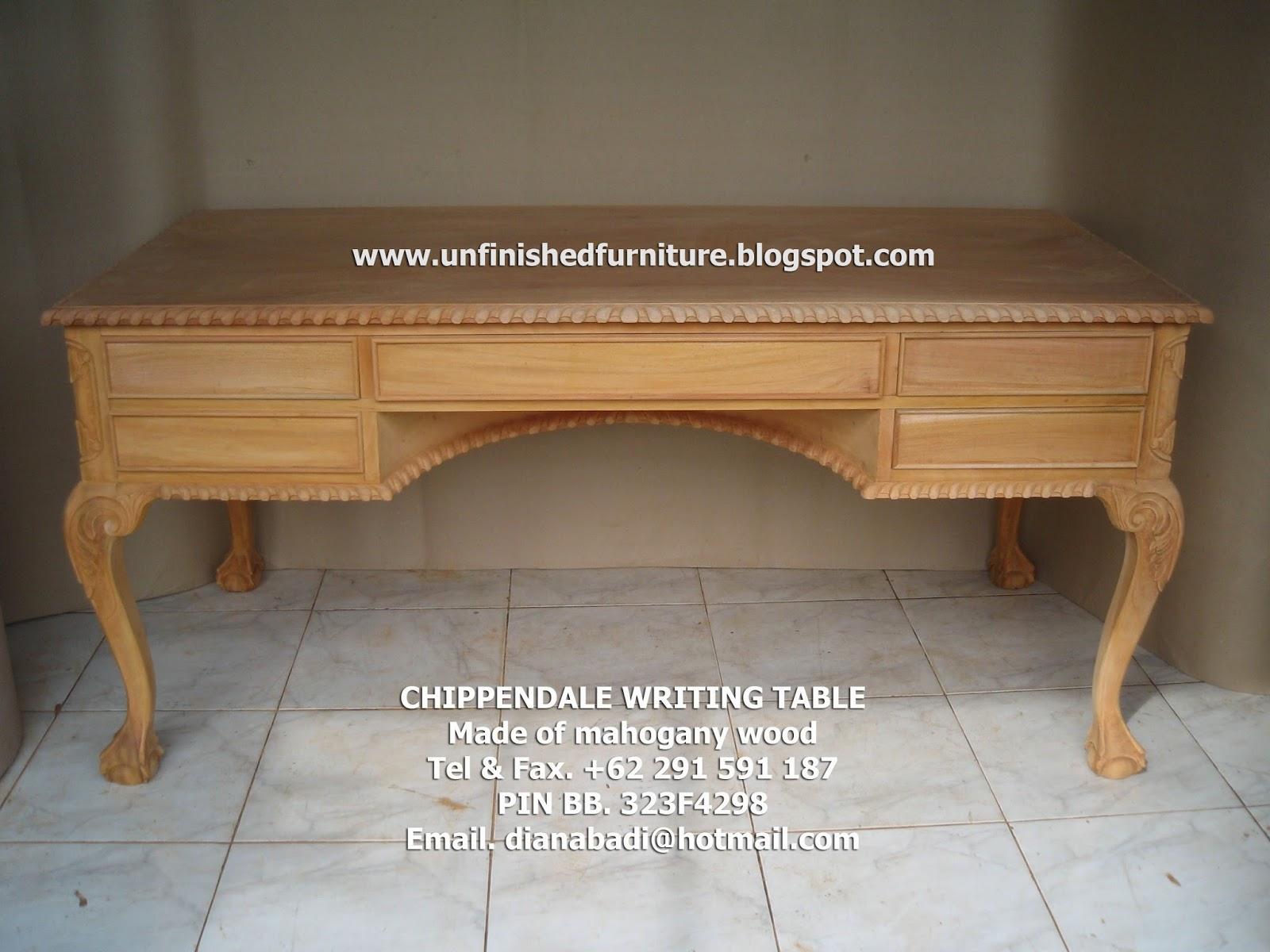 Mebel Klasik Furniture klasik meja tulis klasik chippendale meja tulis ukir mahoni jepara, meja solid kayu mahoni, meja tulis ukir chippendale 5 laci, meja tulis klasik