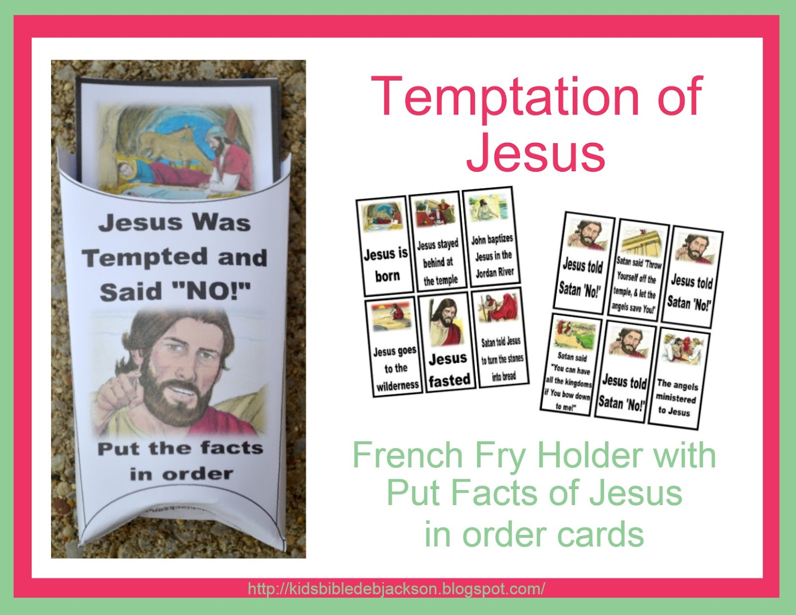 Temptaion of Jesus Put the Facts in order cards