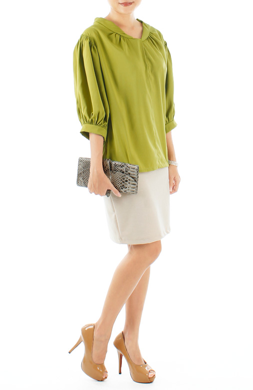 Spring Green Piper Knot Blouse with Tie Back