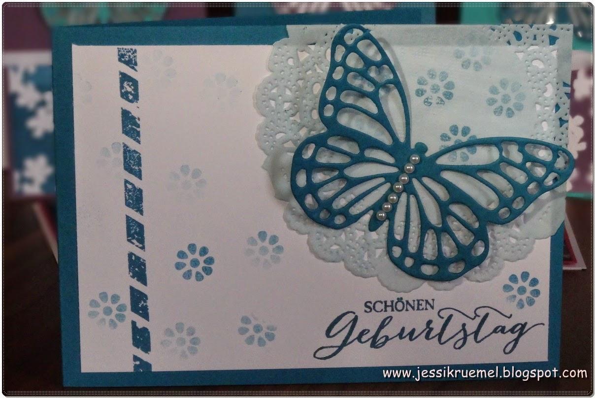 Schmetterlingsgruß, Schmetterling, BigShot, Basic Perlen, Spitzendeckchen, Petrol, Geburtstag, www.stempelfreundin.de