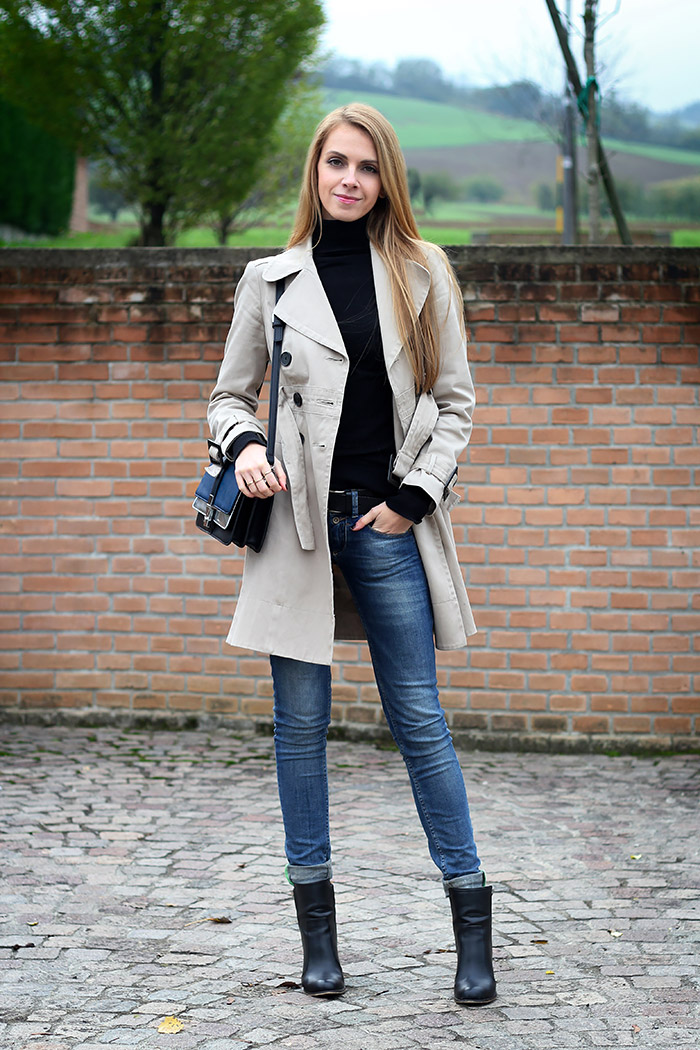 trench coat, black turtleneck, zara crossbody bag and boots