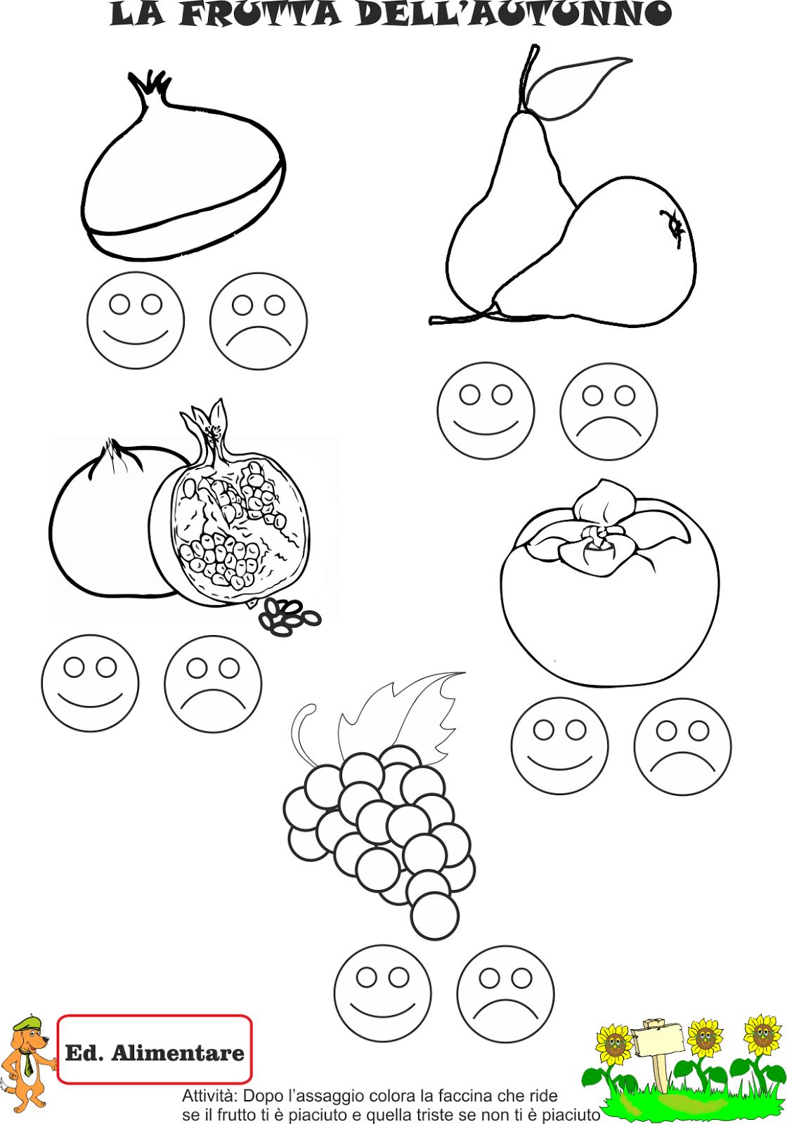 A scuola con poldo la frutta dell 39 autunno for Schede bambini 3 anni